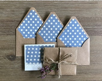 Mini Envelopes, Envelopes set, Cards set, Thanks card with lace, Crafted tiny handmade envelopes, Blue polka dotted, Scabpooking envelopes