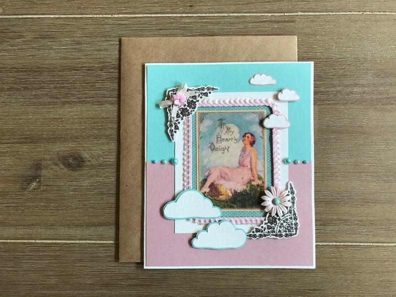 Mint Pink Girlfriend Birthday Card Handmade Greeting