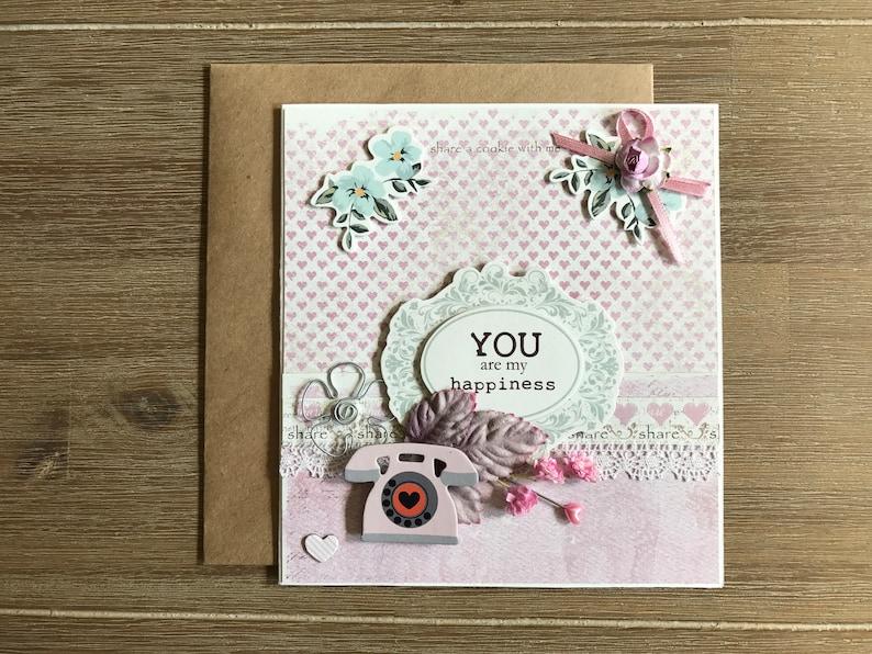 Pastel Pink Mint Birthday Card Friendship 1st 2nd 3rd