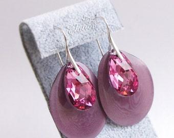 "Handmade earrings ""Rose fragrance"" with Swarovski crystals"