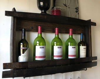 Wine Rack Glass Holder Wood Bottle Shelf Recycled Barrel Parts