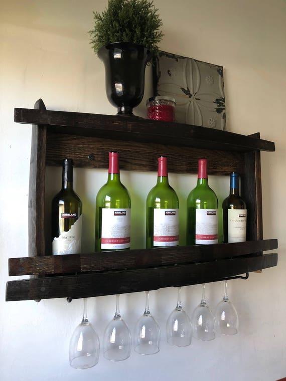 Wine Rack Wine Glass Holder Wood Wine Bottle Shelf Recycled Etsy