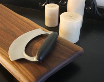 Live Edge Walnut Cutting Board, Ulu Knife, Kitchenware, Bread Board, Breakfast Tray, Awesome Gift, Made in America