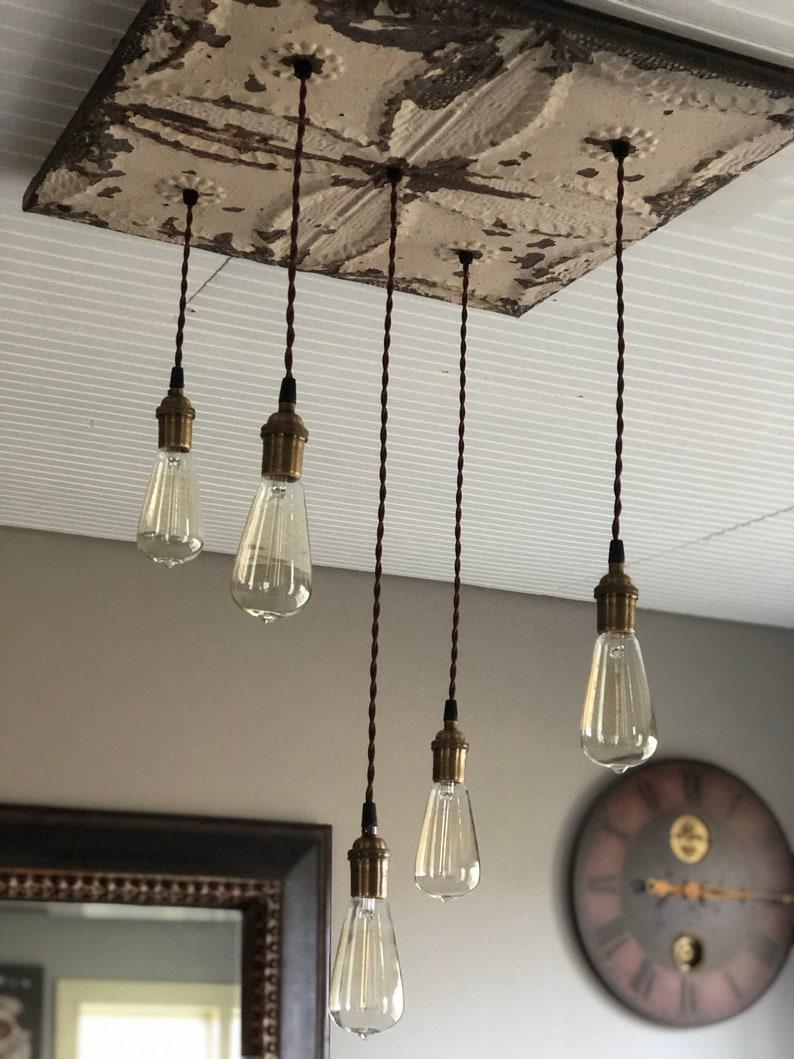 Farmhouse chandelier 5 light edison bulb light fixture antique tin tile chandelier vintage kitchen dining room