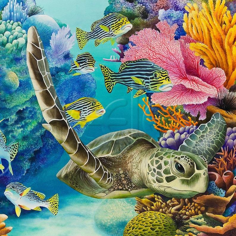 fdf495ac62d4 Azulejo del arte de colorido arrecife grandes tortugas de mar