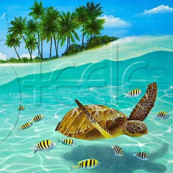 Tropical Island: Art Tile Of Tropical Island Caribbean Green Sea Turtle: