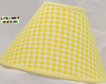 Gingham Yellow Fabric Lamp Shade (10 Sizes to Choose From!!!)