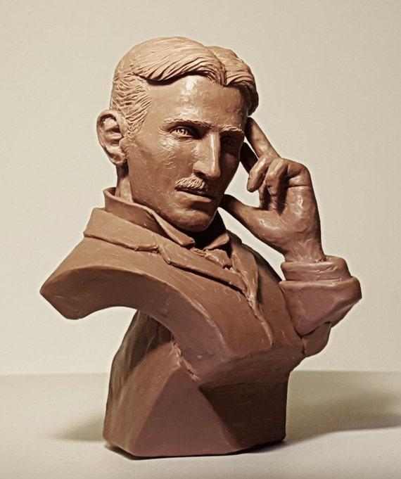 Nikola Tesla 3D Printed Bust Famous Engineer and Futurist Art FREE SHIP