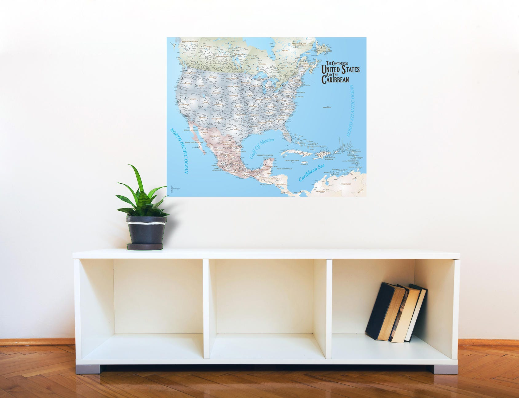 US and Caribbean Map, Map Decal, Travel Map, US Map, Caribbean Map ...