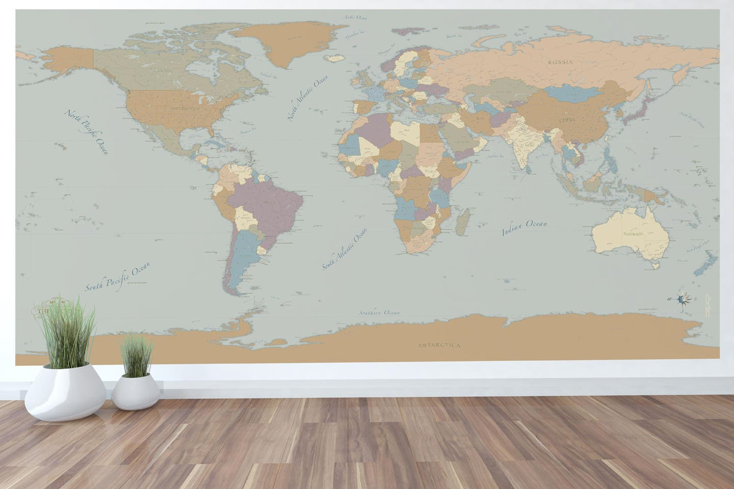 Giant world map mural wall art world map decal 59x30 or 96x48 with giant world map mural wall art world map decal 59x30 or 96x48 with beautiful colors and cities gumiabroncs Images