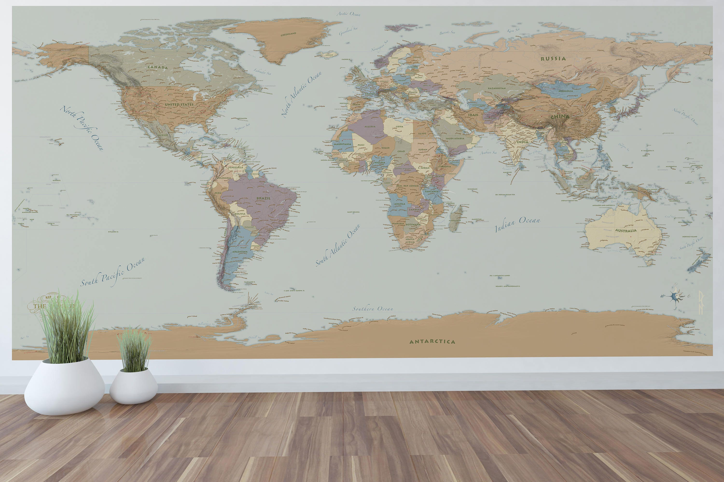 Giant World Map Mural Wall Art World Map Decal 96x48 with ...