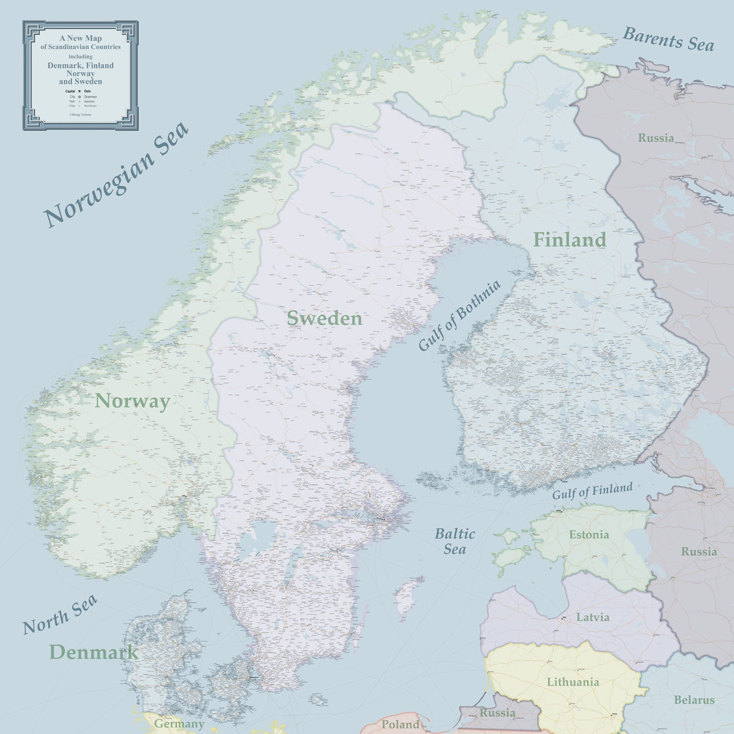 image relating to Scandinavia Map Printable called Major Scandinavia Wall Map Print 41x41, Satin Paper Wall Map