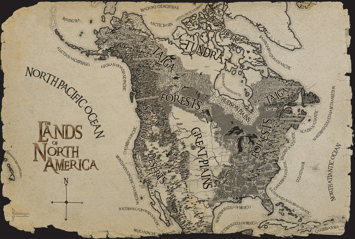 Huge Tolkien Style Adventure Map Decal With Landforms North America