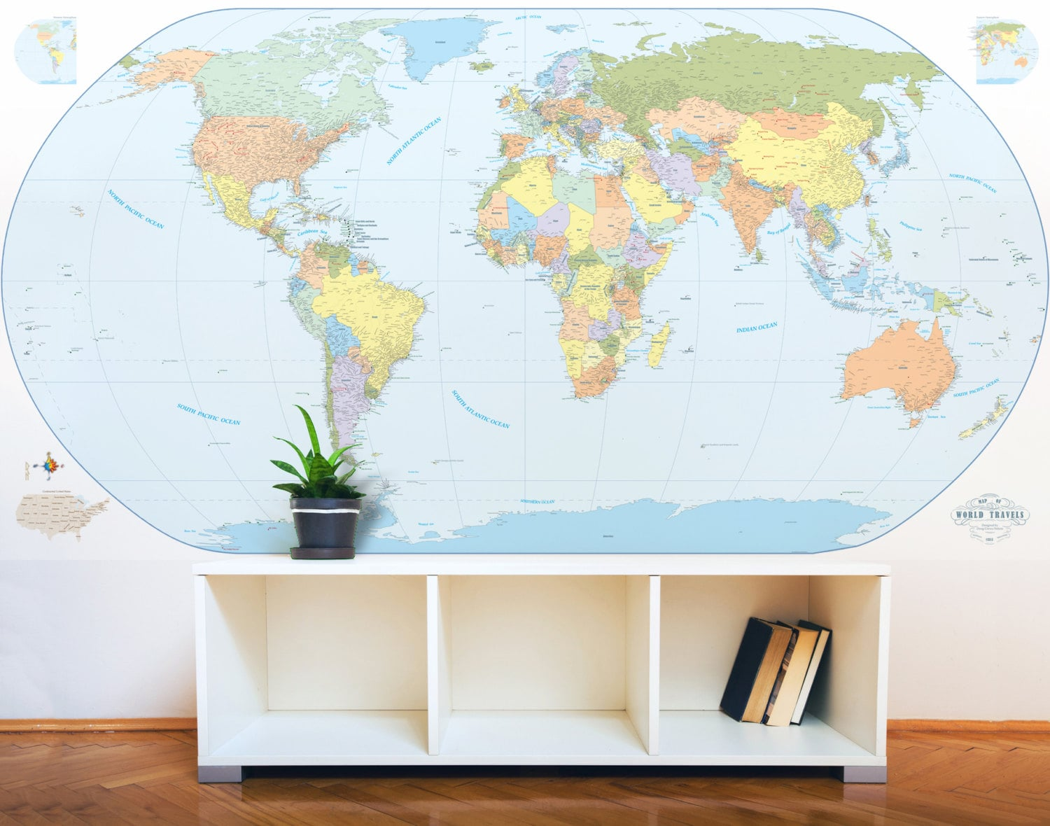 Giant world map mural stylish and educational world map wall art giant world map mural stylish and educational world map wall art world map decal 48h x 90w with cities gumiabroncs Image collections