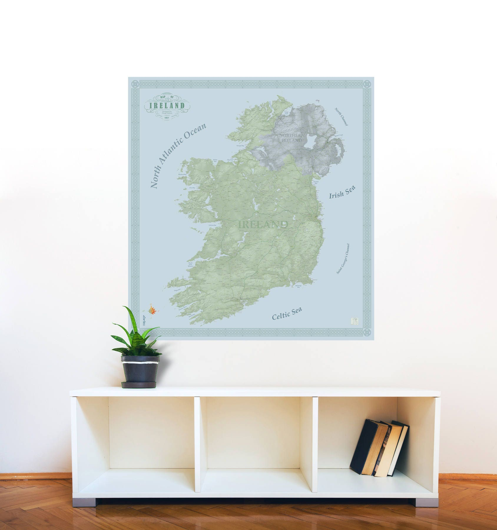 Large print ireland wall map decal 24x24 wall map sticker map of ireland