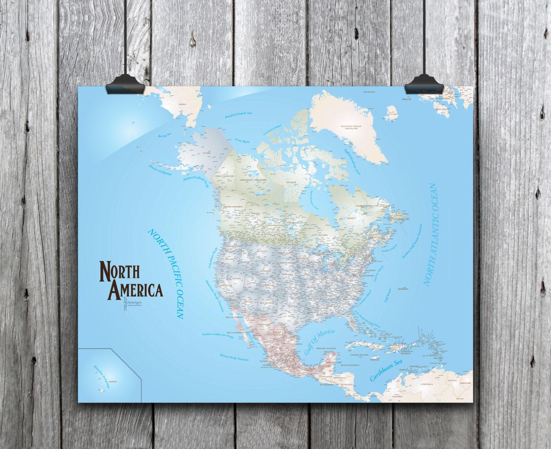 Beautiful North America Pushpin Travel Map, 30x24 Art Map ...
