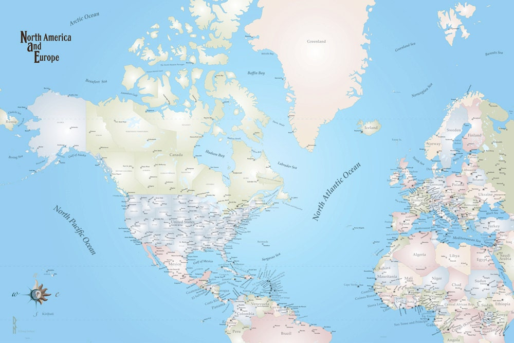 North America and Europe Travel Map Decal, Travel Map, North America ...