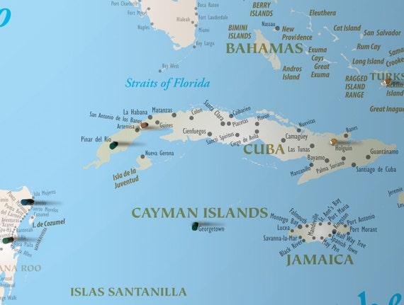 caribbean travel map magnetic map push pin travel map etsy