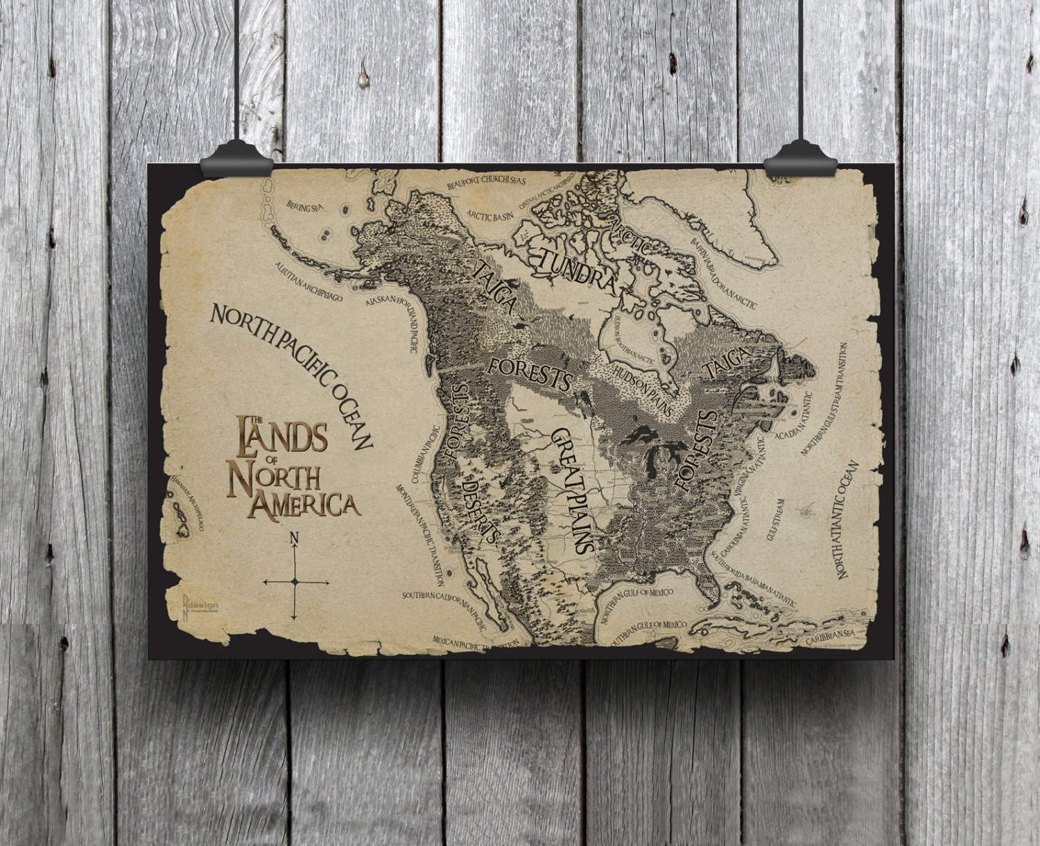 Huge Tolkien Style Adventure Map With Landforms North America