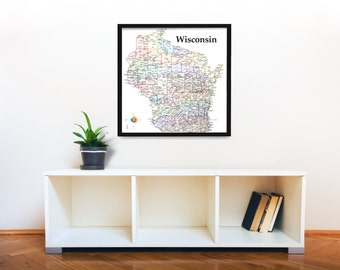 Wisconsin Pushpin Map, Bright Highlights, Large 24x24