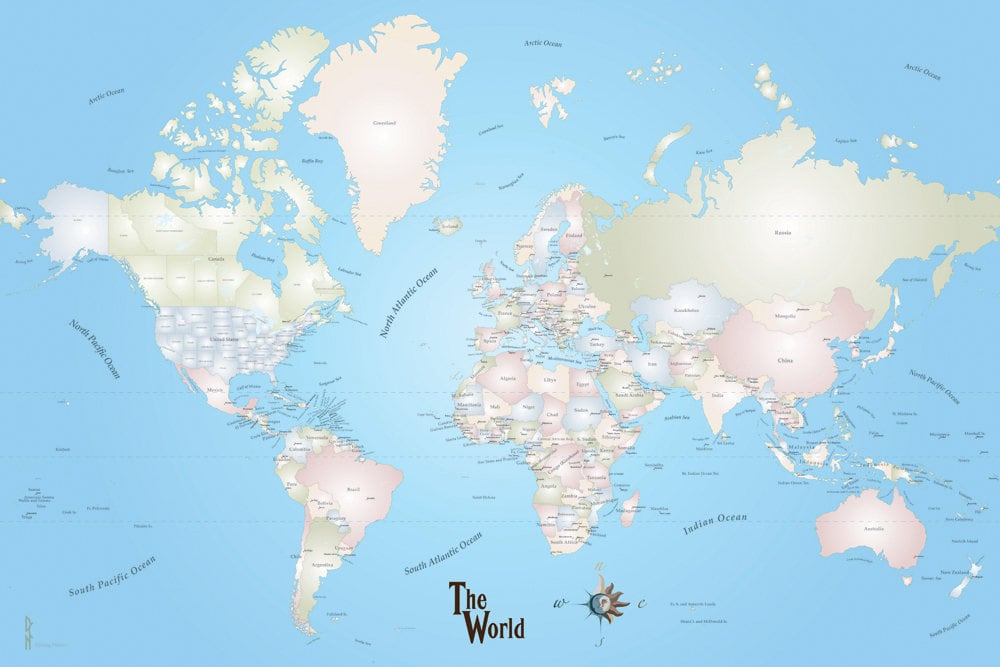 Giant World Map Mural Stylish and Educational World Map Wall ... on giant laminated world maps, giant tile murals, elephant wall mural, galaxy wall mural, world wall mural, enchanted forest wall mural, giant wall murals, peter pan wall mural,