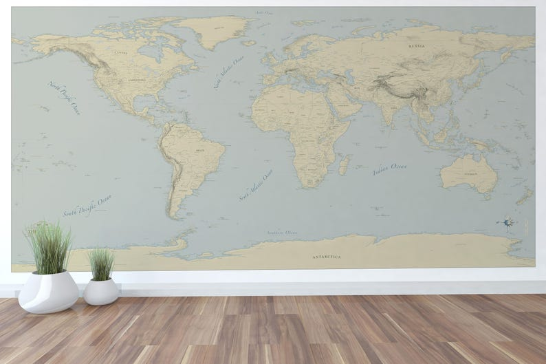 Giant World Map Mural Stylish and Educational World Map Wall Art World on giant laminated world maps, giant tile murals, elephant wall mural, galaxy wall mural, world wall mural, enchanted forest wall mural, giant wall murals, peter pan wall mural,