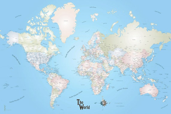 Large Print World Travel Map 45