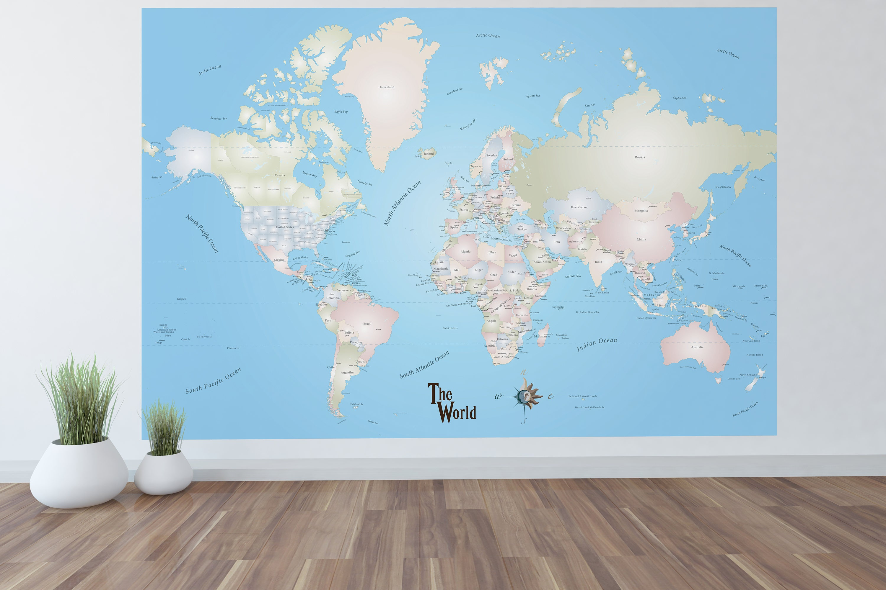 Giant world map mural stylish and educational world map wall art giant world map mural stylish and educational world map wall art world map decal 72x48 with capitols gumiabroncs