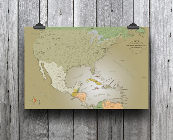 Us Caribbean Map Art Or Travel Map Art Map Perfect For Etsy - Us-caribbean-map