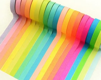 10 rolls Washi Tape set Rainbow color Masking Tape colorful mini washi tapes sticker trim lace border ribbon deco mail message board photo