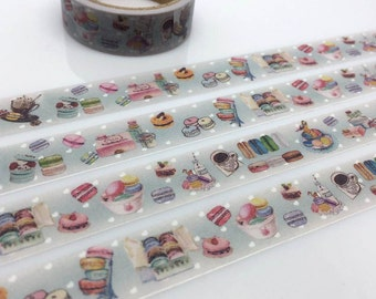 Macaron marcaron washi tape 5M Colorful French cake sweet dessert sticker tape Handmade macaroon cake label Cake party tea time party decor