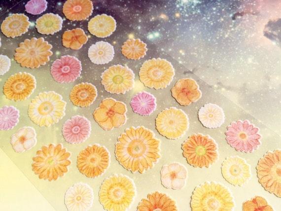 Blumenaufkleber orange Phantasie Blume Sonnenblume | Etsy