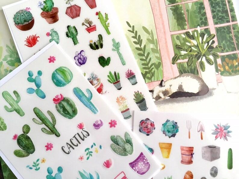 Arkusz Dom Doniczki Kaktus Kwiat Naklejki Ogród Ogrodnictwo Ogrodowy Roślina Ulotki Terminarz Zielony ładny
