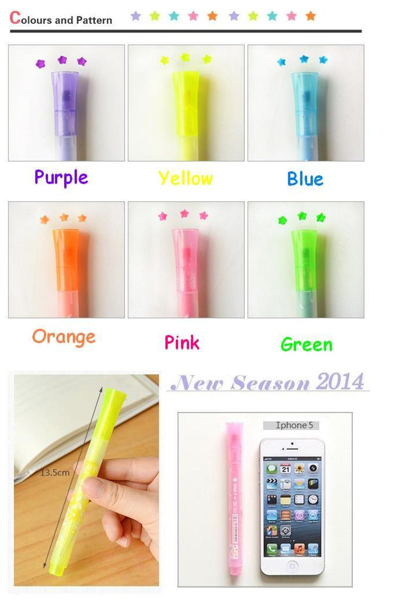 91fbf581827d9 Star neon pen Highlighter Pen set star shape Highlighter rainbow gel pen  Cute pens color ink pen colorful marker colored pencil roller pen