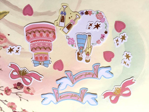 Wedding Cake Doves Flowers PEEL OFF STICKERS Rings Hearts Cardmaking