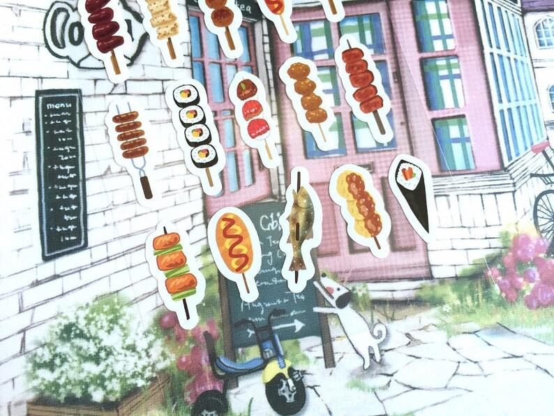 street food sticker BBQ on a stick yummy food cute food snack food sticker pork beef fish hot dog cartoon food sticker food planner sticker