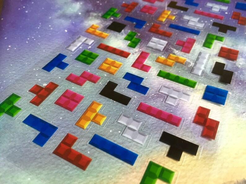 Tetris Sticker Colorful Game Blocks Deco Sticker Retro Video Game Blocks Classic Video Game Sticker Russian Tetris Game Tetris Blitz Decor