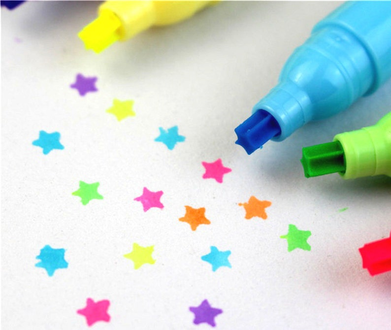 99588a0ce4694 Star pen neon pen star pattern mini Highlighter Pen set star shape Cute  pens color ink pen colorful marker diary scrapbook planner gift
