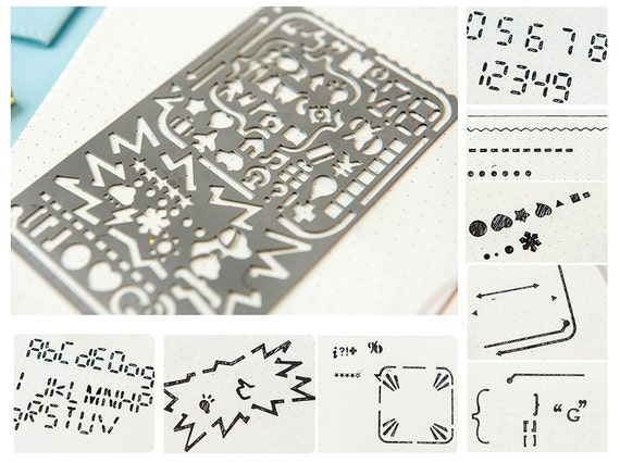 Planner Ruler Number Alphabet Art Shapes Stencil Daily