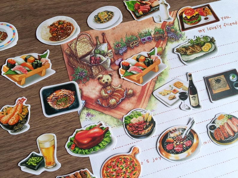 Cool Buffet Food Sticker Picnic Food Gourmet Breakfast Dinner Noodle Rice Planner Sticker Food Party Recipes Cooking Notebook Flake Sticker T Interior Design Ideas Helimdqseriescom