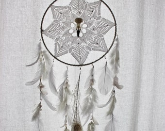 Dark Purity . white dreamcatcher with french vintage doiy, raven skull, feather & Swarovski for pagan gothic and witchcraft wall-hanging .