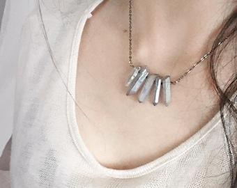 Larme de Lune . fine necklace quartz point & Swarovski  pagan boho witchcraft jewelry.