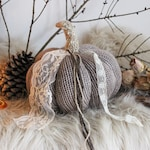 Pomona . vintage knit pumpkin and old lace pagan witchcraft thanksgiving decoration autumn witch .