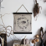 Equinox Ritual .  wall hanging canvas autumn leaves print drawings vintage spirit pagan decor  cabinet of curiosities .