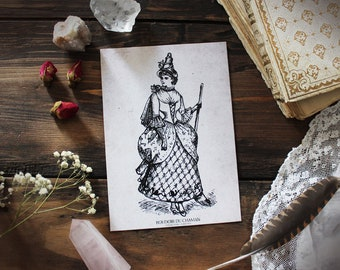 The Witch . print of antique illustration from 19th century decoration pagan witchcraft vintage magic .