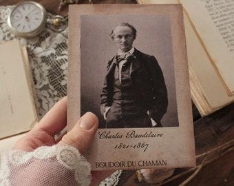 Charles Baudelaire. print card portrait 19th century deocration romantic gothic dark academia vintage