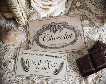 Coco & Chocolat. set of 2 french labels stickers apothecary spirit for vintage and romantic kitchen