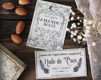 Coconut and Almond. set of 2 french labels stickers apothecary spirit for vintage and romantic kitchen
