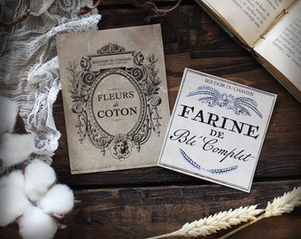 Cotton flowers and flour. set of 2 french labels stickers apothecary spirit for vintage and romantic kitchen