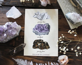 Crystals . print of antique illustration from 19th century decoration lithotherapy witchcraft vintage magic .